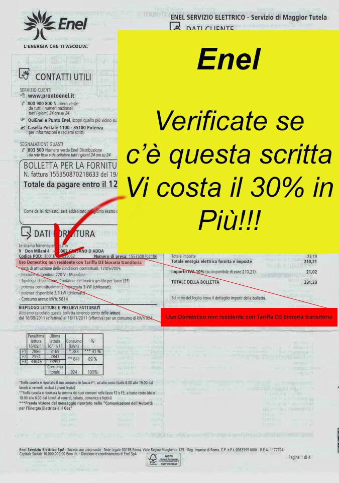 Bolletta enel sos utenti consumatori for Enel gas bolletta